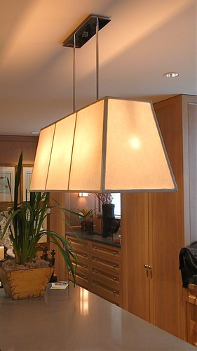Custom Made Trapezoidal Kitchen Pendant Lamp Hanging from a Custom Nickle Plated Canopy That I Made