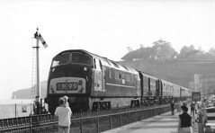 "D852 ""Tenacious"" at Dawlish, 19th September 1963 (rugd1022) Tags: br diesel north class company british locomotive warship wr 43 hydraulic tenacious dawlish mailtrain nbl d852 d8xx"