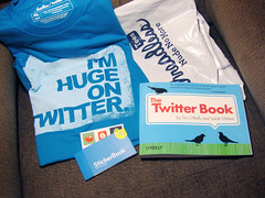 Twitter gear accumulated on my La-Z-Boy chair at home this week.