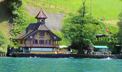 Lucern Fairy Tale Set (cwgoodroe) Tags: sun mountain lake snow alps green church statue ferry fairytale swimming switzerland boat europe locals suisse swiss sunny location farms movieset luce swissalps lucern medivil beerpasture