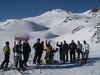 A group of skiers poses for a photo at  Termas de Chillan