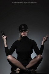 killer yoga (Konstantin Sutyagin) Tags: portrait woman black girl fashion yoga self dark cool gun security cap weapon pistol meditation concept defence
