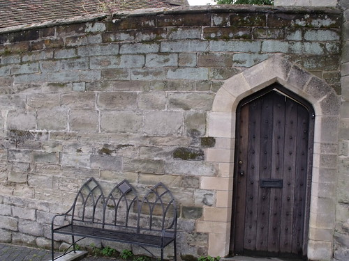 Warwick Castle - bench and door - near Mill Street, Warwick