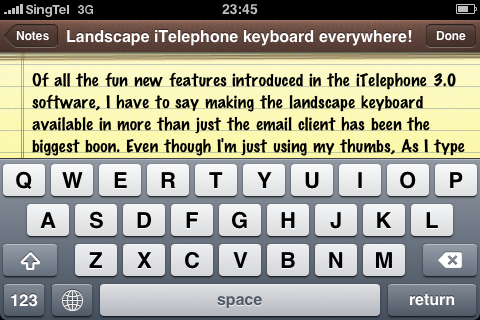 Landscape keyboard in iPhone 3.0