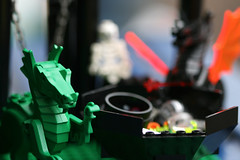 Day 5; In the dragon's den the black dragon, less formally known as Aakarshan, arrives back from his search with a red wand in his claw... (The.StoryKeeper) Tags: macro fun toy lego day5 wol slightlyedited weekoflego