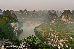 Overlooking the Karst Mountains, China (SewerDoc (200 Explores)) Tags: china mountains reflection nature sunrise river liriver guilin explore guangxi xingping blueribbonwinner riverli flickrexplore explored karstmountains diamondclassphotographer flickrdiamond absolutelystunningscapes sewerdoc jaredfein updatecollection