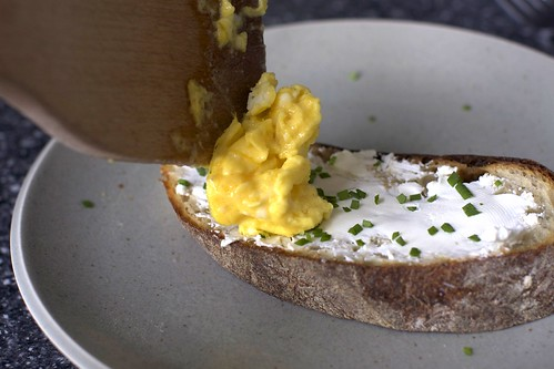 softly scrambled egg, toast, chives