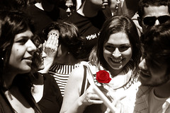 Red (Hanibaael) Tags: red blackandwhite smile rose beirut poeple