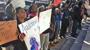 Philadelphia students demonstrating against their high school being turned into a charter institution. Charterization of education is promoting and financed by the ruling class to destroy public education. by Pan-African News Wire File Photos