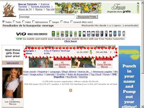 Resultado de la busqueda en piratebay.org
