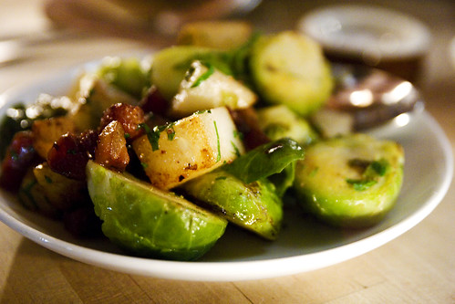 brussels sprouts with bacon and pears