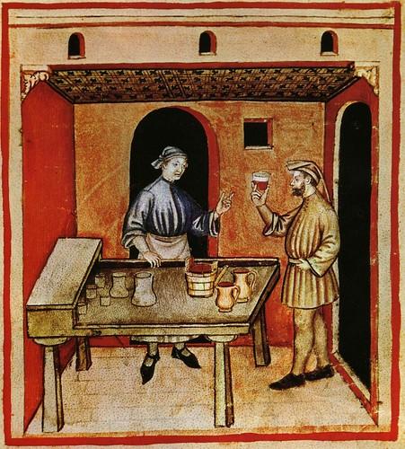 003-Tomando vino tinto-TACUINUM SANITATIS- Biblioteca Casanetense Ms. 4182