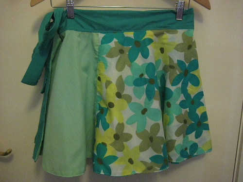 Green Floral Wrap Skirt 1