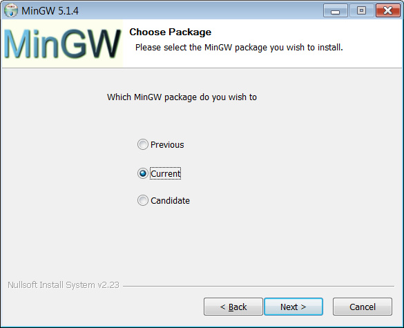 MinGW installer asks you to choose package