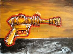 Ray Gun 1 (Brian Colin) Tags: painting paper gun acrylic ray gorilla cut glue canvas lowbrow briancolin