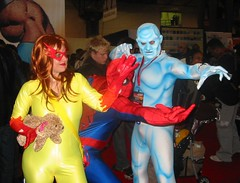 Spider-Man and his Amazing Friends! (BelleChere) Tags: costume cosplay spiderman iceman marvel firestar nycc newyorkcomiccon09