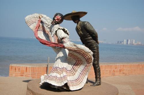 Sculpture in Puerto Vallarta Mexico of Couple Dancing