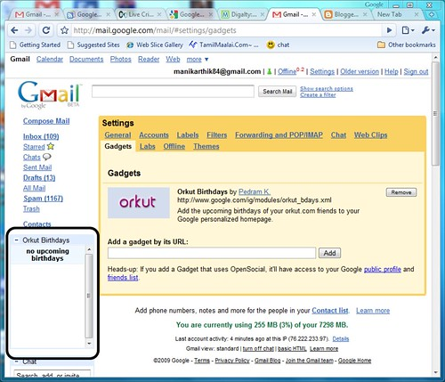 Orkut Birthdays in GMail