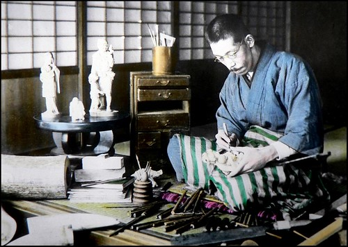 THE IVORY CARVER and His TOOLS in OLD JAPAN