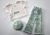 Pure Set  - cabled longies, embroidered wrap shirt & knit hat - newborn