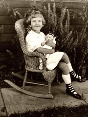Vintage Girl with doll in Rocker (ozfan22) Tags: girl kid chair doll young bisque rocker littlegirl rocking germanor girlwithdoll