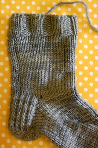 the first (very misshapen) sock