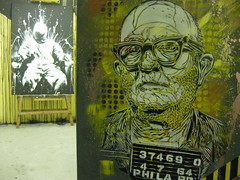 C215 & DAN23 - Justice (C215) Tags: show from street uk portrait streetart art station yellow work bristol french death graffiti justice stencil bars do cross cell police denver christian prison installation jail judge convict sentence steal pochoir bridewell masacara szablon c215 schablon dan23 gumy piantillas guemy