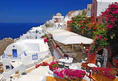 Oia - Santorini - Greece (Giuseppe Finocchiaro) Tags: flowers blue sea summer white colors nikon mediterranean mediterraneo mare colours estate blu santorini greece grecia fiori colori bianco oia cyclades cicladi