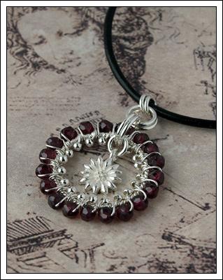 Garnet & silver pendant