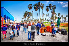Venice Beach, California (szeke) Tags: california street city light people urban musician plant tree beach landscape losangeles sunny palmtree processing venicebeach streetmusician photomatix abigfave imagenomic qualitypixels