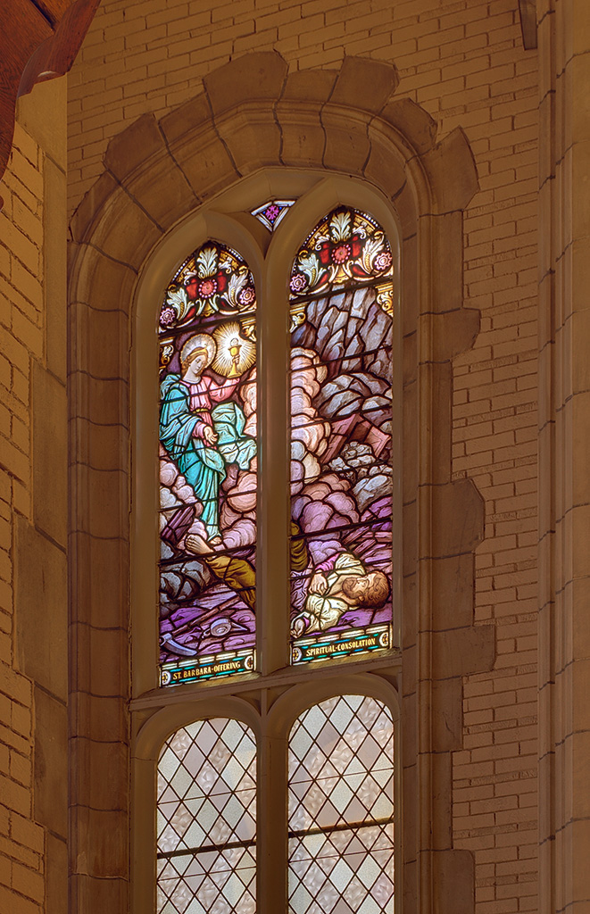 Former Daughters of Charity chapel, at the University of Missouri - Saint Louis, in Normandy, Missouri, USA - stained glass window 5