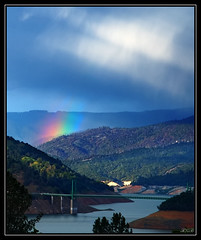 Pot Of Gold In The Middle Fork (orovillesue) Tags: california lake storm nature rain northerncalifornia landscape rainbow scenic bridges norcal oroville buttecounty lakeoroville