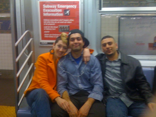 Kendra, Ajay, and Ronak on the train to Manhattan