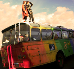"""One thing I can tell you, is you've got to be FREE! "" (jla ) Tags: blue sky bus ahead vintage looking hippy reykjavik series 60 mygallery"