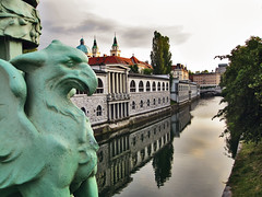 Ljubljancica River from the Dragon Bridge in L...