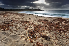Remnants of the Tide (crispyparty) Tags: ocean longexposure vacation sky sun seascape canon landscape sand waves coastal rays uwa coastscape 5dmkii aidstecson adriantecson californiacoastalmontereybayusa