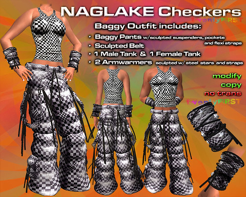 NAGLAKE Checkers Baggy Outfit