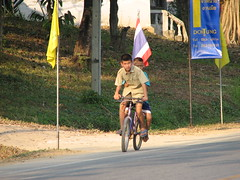 Two Kids on the Bicycle (Crouching Tiger Team) Tags: trip travel vacation people holiday nature bike bicycle thailand happy cycling golden triangle cyclist tour mai chiang rai
