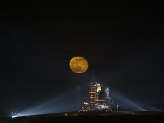 Moon Over Space Shuttle Endeavor (NASA, Moon, ...
