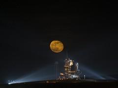 Moon Over Space Shuttle Endeavor (NASA, Moon, ...