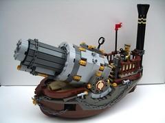 Vulcan: Prussian Naval Howitzer - ThreeQuarterView (2 Much Caffeine) Tags: ship lego cannon battleship steampunk moc ludicrouslybiggun surelytherecoilwouldsinkher