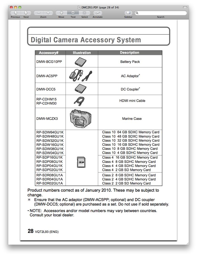 Accessories for the Panasonic DMC-ZR3 / DMC-ZX3, found on page 28 of the Basic Panasonic ZR3 / ZX3 Manual