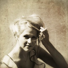 SepiaSunSpring (provincijalka) Tags: light portrait woman sun girl smile face look sepia vintage hair square bride spring model eyes soft hand monochromatic ring blonde bridal harsh gentle fused layered provincijalka plustexture thankslesbrumes