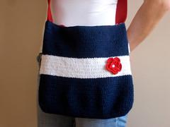 Tomi Handcrochet Messenger Bag (bysweetmom) Tags: blue red white flower etsy messengerbag ecofriendly softcotton handcrochet bagpurses bysweetmom navybluetote