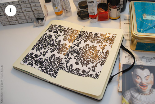 Artbook background with acryl, Step 1