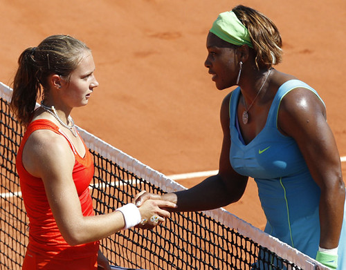 Serena Williams and and Stefanie Voegele at French Open
