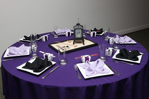 Our colors were purple and black hence our table scape & Amieu0027s blog: Our Wedding Bells Wedding Response Cards are part of ...