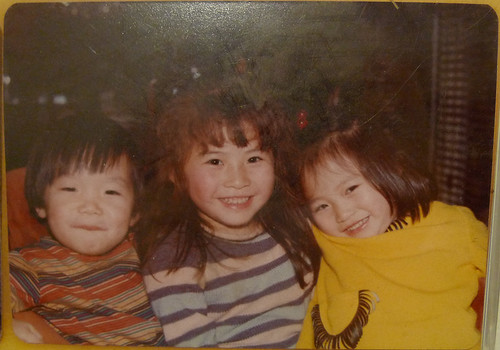 Some kid, me, and my sister