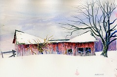 Bowtie Roof-Centennial Farm Outbuilding (Artist Naturalist-Mike Sherman) Tags: life from old roof winter red snow water rural painting landscape centennial ditch michigan farm fineart location cave sagging irrigation outbuilding isabellacounty