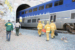 LAFD Responds to Woman Hit By Train. © Photo by Juan Guerra. Click to view more...